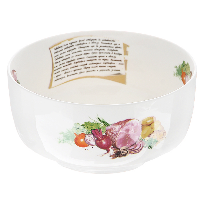 """Салатник """"Гранатовый салат"""", выполненный из высококачественного фарфора, порадует вас ярким дизайном и практичностью. Дно салатника декорировано изображением гранатового салата, а сбоку написан рецепт его приготовления и изображены необходимые продукты, также напротив рецепта присутствует надпись """"Гранатовый салат"""". В комплект к салатнику прилагается небольшой буклет с рецептами любимых салатов и закусок. Такой салатник украсит ваш праздничный или обеденный стол и станет достойным дополнением к кухонному инвентарю. Характеристики:  Материал: фарфор. Цвет: белый. Диаметр по верхнему краю: 18 см. Диаметр основания: 11,5 см. Высота: 9 см. Размер упаковки: 18,5 см х 18,5 см х 9 см. Артикул: 598-003."""