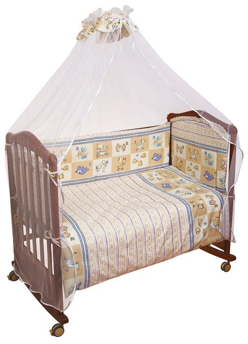 Сонный Гномик Комплект в кроватку Считалочка цвет бежевый 7 предметов705Комплект в кроватку Считалочка прекрасно подойдет для кроватки вашего малыша, добавит комнате уюта и согреет в прохладные дни. В качестве материала верха использован натуральный хлопок безупречной выделки с авторским рисунком, мягкая ткань не раздражает чувствительную и нежную кожу ребенка и хорошо вентилируется. Деликатные швы рассчитаны на прикосновение к нежной коже ребенка. Бампер, подушка и одеяло наполнены холлконом - экологически безопасным гипоаллергенным синтетическим материалом, обладающим высокими теплозащитными свойствами. Элементы комплекта оформлены изображениями забавных животных. Комплект состоит из:бампера с несъемными чехлами,балдахина с сеткой,подушки с клапаном,одеяла,пододеяльника,наволочки,простыни.Для производства изделий Сонный гномик используются только высококачественные ткани ведущих мировых производителей. Благодаря особым технологиям сбора и переработки хлопка сохраняется естественная природная структура волокна.Характеристики:Материал: бязь, 100% хлопок. Наполнитель бампера, подушки и одеяла: холлкон 100% полиэстер. Материал балдахина: сетка. Размер одеяла: 140 см х 110 см. Размер бампера: 360 см х 35 см. Размер балдахина: 450 см х 170 см. Размер подушки: 60 см х 40 см. Размер пододеяльника: 144 см х 108 см. Размер наволочки: 60 см х 40 см. Размер простыни: 140 см х 100 см.