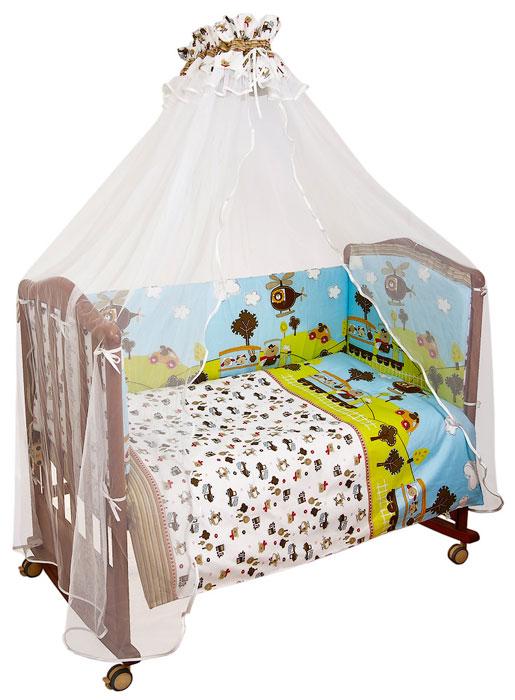Комплект в кроватку Каникулы, 7 предметов708Комплект в кроватку Каникулы прекрасно подойдет для кроватки вашего малыша, добавит комнате уюта и согреет в прохладные дни. В качестве материала верха использован натуральный хлопок, мягкая ткань не раздражает чувствительную и нежную кожу ребенка и хорошо вентилируется. Наполнение одеяла, подушки и бампера из холлкона - экологически безопасного гипоаллергенного синтетического материала, обладающего высокими теплозащитными свойствами. Элементы комплекта оформлены изображениями машин, паровозиков и вертолетов.Комплект состоит из: бампера со съемными чехлами,балдахина с сеткой,подушки,одеяла,пододеяльника,наволочки,простыни.Характеристики:Материал: 100% хлопок. Наполнитель бампера: холлкон. Материал сетки балдахина: 100% полиэстер. Размер одеяла: 140 см х 110 см. Размер бампера: 360 см х 42 см. Размер балдахина: 450 см х 175 см. Размер подушки: 60 см х 40 см. Размер пододеяльника: 144 см х 108 см. Размер наволочки: 60 см х 40 см. Размер простыни: 140 см х 100 см.