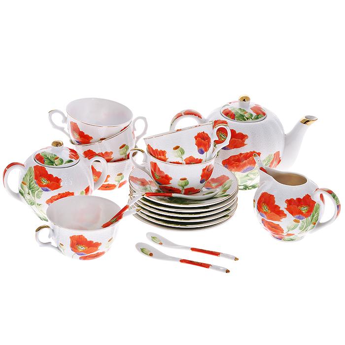 Набор чайный Цветы мака с ложками, 21 предмет545-378Чайный набор Цветы мака состоит из шести чашек, шести блюдец, заварочного чайника, сахарницы, молочника и шести ложек. Предметы набора изготовлены из высококачественного фарфора и оформлены изображением маков.Изящный дизайн придется по вкусу и ценителям классики, и тем, кто предпочитает утонченность и изысканность. Он настроит на позитивный лад и подарит хорошее настроение с самого утра. Набор упакован в красочную подарочную коробку. Внутренняя часть коробки задрапирована белым атласом. Каждый предмет надежно зафиксирован внутри коробки благодаря специальным выемкам.Чайный набор - идеальный и необходимый подарок для вашего дома и для ваших друзей в праздники, юбилеи и торжества! Он также станет отличным корпоративным подарком и украшением любой кухни. Характеристики:Материал:фарфор. Диаметр чашки по верхнему краю:9,5 см. Высота чашки:6 см. Объем чашки:250 мл. Диаметр блюдца:15 см. Диаметр чайника (без учета носика и ручки):12 см. Высота чайника (без учета крышки):11,5 см. Объем чайника:680 мл. Размер молочника:9 см х 12,5 см х 9 см. Размер сахарницы:10 см х 14,5 см х 8,5 см. Длина ложки:13 см. Размер упаковки:33,5 см х 41 см х 12,5 см. Артикул:545-378.