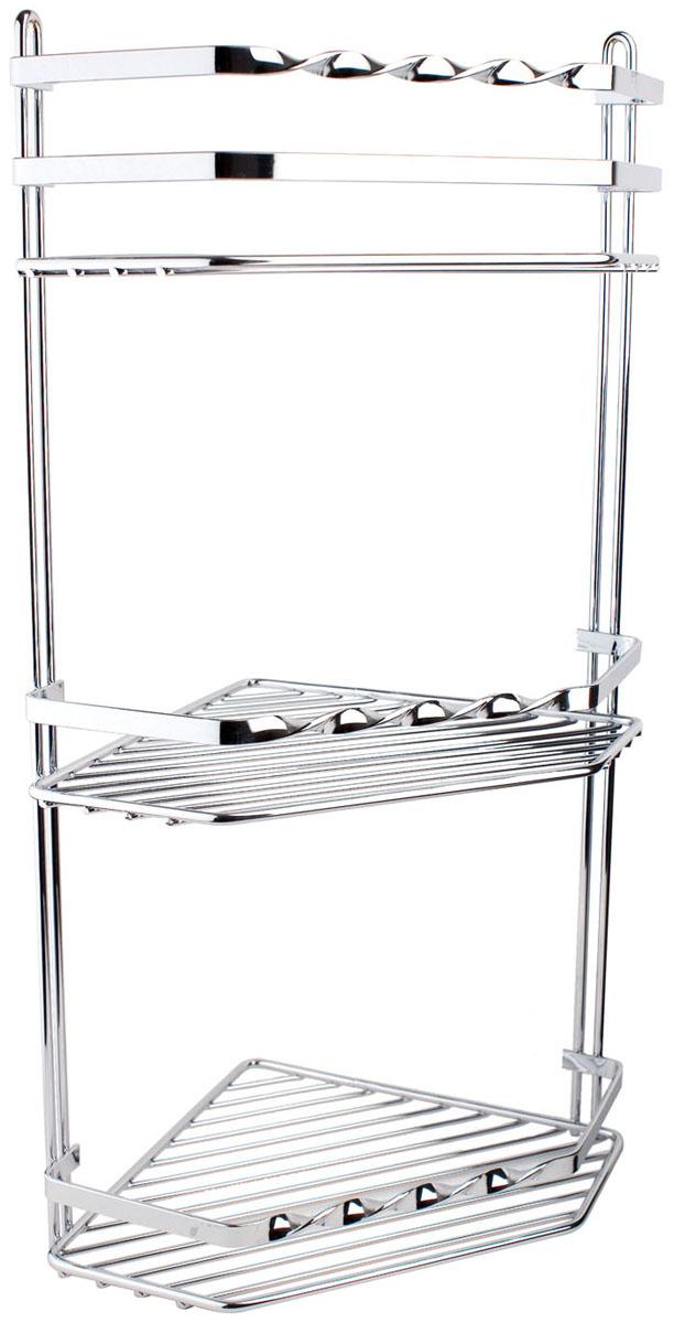 Подвесная полка Duschy Modern, 3-х ярусная с кручеными бортами, угловая026-00Подвесная полка Duschy Modern, с кручеными бортами, выполненная из стали и покрытая специальным, влагозащитным полимерным покрытием, сэкономит место в ванной комнате. Полка подвешивается с помощью 2-х саморезов.Она пригодится для хранения различных принадлежностей, которые всегда будут под рукой.Благодаря компактным размерам полка впишется в интерьер Вашего дома и позволит Вам удобно и практично хранить предметы домашнего обихода. Характеристики: Материал: хромированная сталь. Цвет: хром. Размер яруса: 20 см х 20 см х 4 см. Общий размер: 20 см х 20 см х 50 см. Размер упаковки: 20 см х 20 см х 50 см.