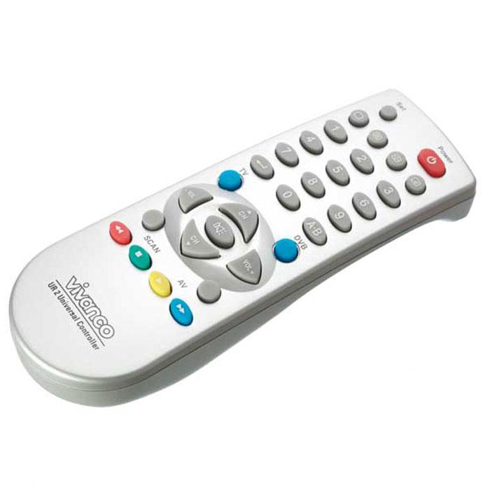 Vivanco UR 2 универсальный пульт19696Универсальный пульт дистанционного управления Vivanco UR 2 для телевизоров и устройств приема аналогового или спутникового телевизионного сигнала, а также декодеров цифрового телевизионного сигнала.Вы можете управлять Вашими приборами практически так же, как Вам это знакомо с Ваших оригинальных устройств дистанционного управления. Так как символы универсального пульта дистанционного управления отличаются от символов Ваших оригинальных устройств дистанционного управления, возможно, что для нахождения функции Вам потребуется испробовать все клавиши.