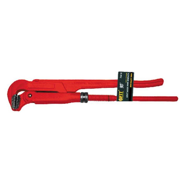Ключ трубный FIT, 90°, 1,570445Ключ трубный FIT используется для монтажа и демонтажа у трубных резьбовых соединений. Ключ эффективен в работе благодаря его специальной усиленной конструкции. Специально разработанный угол наклона зубцов позволяет выполнить максимально возможное усилие захвата. Характеристики: Материал: хром-ванадиевая сталь. Длина ключа: 41 см. Максимальное ширина захвата: 6 см. Угол наклона: 90°. Размеры упаковки:41 см 6 см х 2 см.
