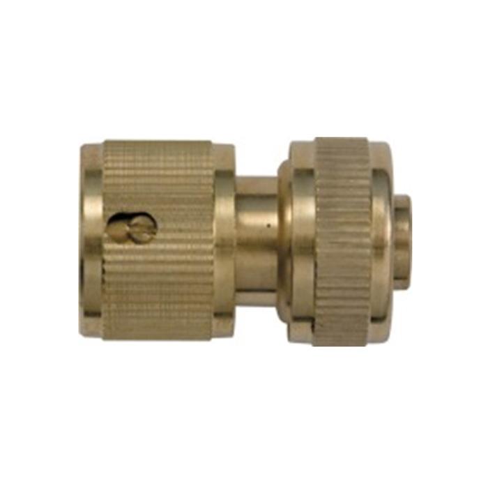 Соединитель для шлангов FIT, латунный, с автостопом, 3/4. 7744677446Латунный соединитель FIT применяется для быстрого и надежного соединения шланга диаметром 3/4 с любой насадкой поливочной системы. Совместим со всеми элементами аналогичной поливочной системы. Встроенный клапан автостопа перекрывает поток води при снятии насадки. Характеристики: Материал: металл. Размер соединителя: 5,5 см х 3,5 см х 5,5 см. Размер упаковки: 13 см x 8 см x 6 см.