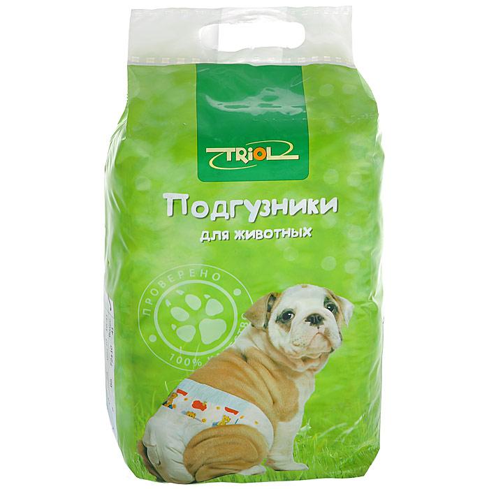 Подгузники для животных Triol. Размер XL, 10 штDP05Подгузники для животных Triol обеспечивают надежную защиту, гигиену и комфорт. Внутренняя поверхность изготовлена исключительно из мягких и эластичных, содержащих хлопок, нетканых материалов. Она быстро пропускает влагу и сохраняет поверхность сухой. Во избежание аллергических реакций не используются натуральные или искусственные отдушки. Впитывающий слой состоит из натуральной распушенной целлюлозы, которая является отличным адсорбентом и при соприкосновении с жидкостью превращается в гель. Полиэтиленовый слой надежно удерживает жидкость внутри, а эластичные барьеры позволяют избежать протекания. Кроме этого, верхний слой декорирован забавным рисунком. Подгузники могут применяться при перевозке животного на длинные расстояния, для ухода в послеоперационный период, для облегчения ухода за старыми и больными животными, а также при течке.Размер подгузников: XL.Вес животного: не более 30 кг.Длина подгузника: 65 см.Обхват талии: 62-82 см. Товар сертифицирован.