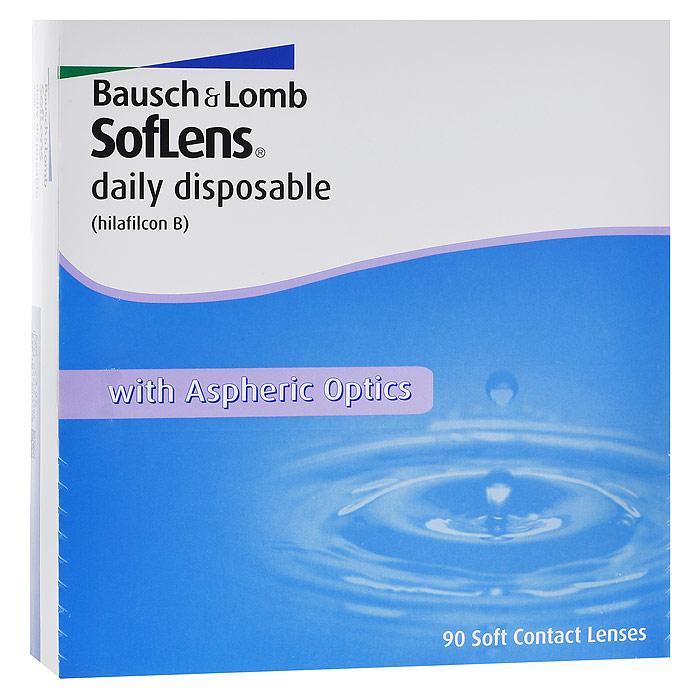 Bausch + Lomb контактные линзы Soflens Daily Disposable (90шт / -3.25)12160SofLens Daily Disposable - это однодневные гидрогелевые линзы с асферическим дизайном и увлажняющим компонентом, который содержится в растворе блистера. Преимущество однодневных линз заключается в том, что проблема ухода за линзами и потеря качества снимаются автоматически. Тончайший дизайн и превосходные свойства материала (хилафилкон Б) высокого влагосодержания гарантируют постоянное увлажнение поверхности линзы и комфорт на целый день. Улучшенный дизайн исключает сферические аберрации, обеспечивая четкость зрения. Линзы подходят для эксплуатации в условиях недостаточной освещенности. Эластичный и мягкий полимер (хилафилкон Б) защищает от слезотечения даже тех, кто впервые пользуется линзами. Для облегчения манипуляций с линзами разработана специальная эргономичная упаковка. Новые однодневные контактные линзы SofLens Daily Disposable идеально подойдут людям, пользующимся контактными линзами от случая к случаю (1-2 раз в неделю), которые ведут активный образ жизни, увлекаются путешествиями и спортом. SofLens Daily Disposable подойдут и тем, кто имеет склонность к аллергическим реакциям.Замена каждый день. Характеристики:Материал: хилафилкон Б. Кривизна: 8.6. Оптическая сила: - 3.25. Содержание воды: 59%. Диаметр: 14,2 мм. Количество линз: 90 шт. Размер упаковки: 16 см х 16,5 см х 3,3 см. Производитель: США. Товар сертифицирован.Контактные линзы или очки: советы офтальмологов. Статья OZON Гид
