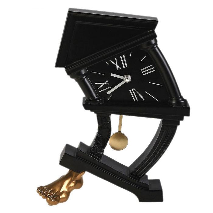 Часы настольные На ноге, цвет: черный. 538538Оригинальные настольные часы На ноге в стилистике Сальвадора Дали - интерьерный арт-объект, выполненный вручную итальянскими мастерами из экологически чистого материала - мраморной крошки. Часы с маятником, опирающиеся на золотую ногу, - необычное дизайнерское решение и стильное украшение интерьера. Этот аксессуар не только оформит интерьер, но и послужит функционально.Оформите совой дом таким интерьерным шедевром или преподнесите его в качестве презента друзьям, и они оценят ваш оригинальный вкус и неординарность подарка. Характеристики:Материал: мраморная крошка.Размер: 26 см x 9 см x 33 см. Цвет: черный.Артикул: 538.