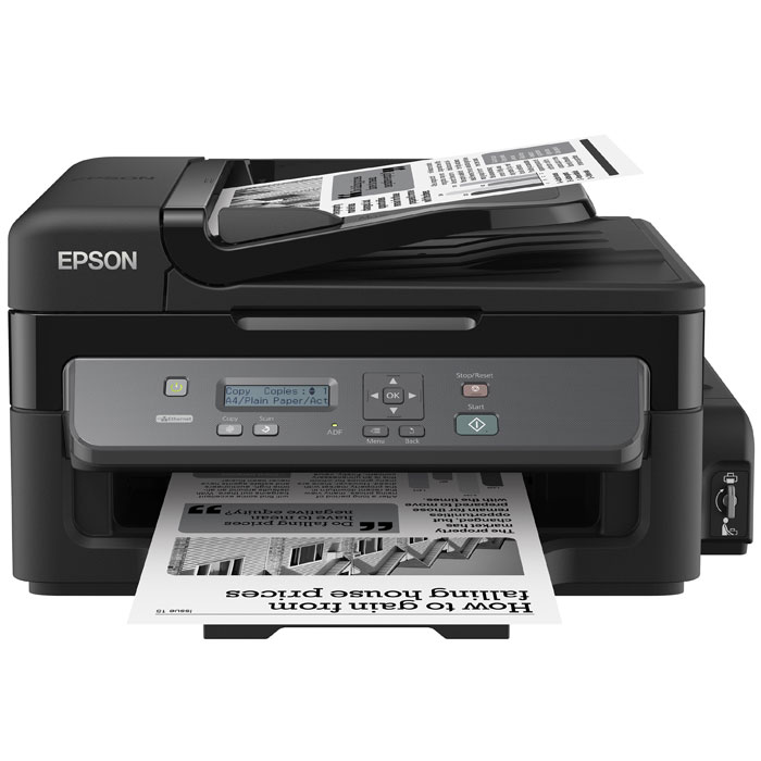 Epson M200 МФУC11CC83311Монохромный принтер-сканер-копир с рекордно низкой себестоимостью печати и подключением по сетиEpson М200 - это высокоскоростное струйное монохромное МФУ большими емкостями для чернил объемом 140 мл, и автоподатчиком для сканирования документов емкостью на 30 листов. Благодаря своей уникальной конструкции данное устройство дает возможность печатать документы с рекордно низкой себестоимость, а за счет использования пигментных чернил отпечатки мгновенно высыхают и не размазываться при попадании воды или механическом воздействии.Рекордно низкая себестоимость печатиБлагодаря большим емкостям и контейнерам с чернилами по 140 мл вы сможете напечатать большой объем документов по рекордно низкой цене: всего 15 коп. за документ формата А4Два контейнера с чернилами по 140 мл в комплекте.В комплекте с устройством идет два контейнера с чернилами пигментными чернилами емкостью по 140 мл. каждый. Благодаря этому приобретая новое устройство, вы можете распечатать до 11 000 отпечатков уже со стартового комплекта чернил, что, несомненно, позволит вам сэкономить, и существенно снизит стоимость владения устройством.Высокий ресурс расходных материаловРасходными материалами к Монохромной Фабрике печати служат контейнеры с чернилами высоким ресурсом. Так одного контейнера с черными чернилами хватит печать 6000 ч/б документов А4 Высокое качество печати и надежностьБлагодаря уникальной технологии печати Epson Micro Piezo и точному контролю давления в емкостях с чернилами вы всегда получаете отпечатки превосходного качества. Специально разработанные материалы, на основе которых изготовлены компоненты устройства, обеспечивают долгий срок службы принтера и работу без поломок.Высокая скорость печатиДополнительным преимуществом Epson M200 является высокая скорость печати: до 34 стр./мин. Что позволит сэкономить вам время, которое играет все большую роль в современном бизнесе. Используя данное устройство, вы можете быть уверены в том, что все необходимые документы будут р