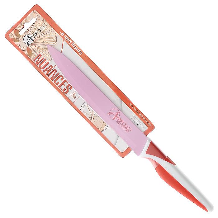 Нож для мяса Apollo Nuances, цвет: белый, красный, розовый, длина лезвия 20 смNNC-21Нож Apollo Nuances изготовлен из высококачественной нержавеющей стали со специальным антибактериальным покрытием лезвия. Специальное нестираемое антибактериальное покрытие препятствует контакту продукта и стали, существенно уменьшая процесс окисления и помогая сохранить полезные свойства продукта. Кроме того, специальное покрытие значительно увеличивает гигиенические свойства ножа, сокращая наличие на лезвии микробов и препятствуя их размножению. Эргономичная рукоятка выполнена из высококачественного пищевого прорезиненного пластика бело-красного цвета. Рукоятка не скользит в руках и делает резку удобной и безопасной. Нож идеально подходит для обработки и нарезки мяса. Такой нож займет достойное место среди аксессуаров на вашей кухне. Заточка ножа Apollo Nuances производится так же, как и обычного кухонного ножа. Не рекомендуется мыть в посудомоечной машине. Характеристики:Материал:нержавеющая сталь, пластик. Цвет:белый, красный, розовый. Общая длина ножа:33 см. Длина лезвия: 20 см. Артикул:NNC-21.