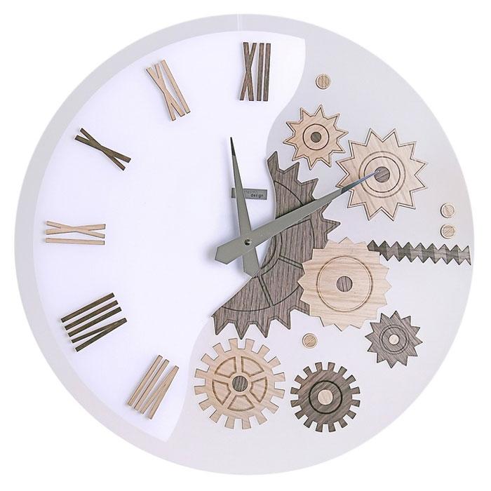 Часы настенные MeKKanico, кварцевые, цвет: белый, темно-бежевый. 654292654292Оригинальные настенные часы MeKKanico выполнены из синтетического матового стекла в круглом корпусе. Циферблат оформлен римскими цифрами, элементами в виде шестеренок, стилизованных под дерево и двумя стрелками часовой и минутной, выполненных из металла. На задней стенке расположены металлическая петелька для подвешивания и блок с часовым механизмом.Необычное дизайнерское решение и качество исполнения придутся по вкусу каждому. Оформите совой дом таким интерьерным аксессуаром или преподнесите его в качестве презента друзьям, и они оценят ваш оригинальный вкус и неординарность подарка. Характеристики:Материал: синтетическое матовое стекло, пластик, металл. Тип механизма:тикающий. Диаметр часов:45 см. Размер упаковки:47 см х 46 см х 5 см. Артикул: 654292. Рекомендуется докупить батарейку типа АА (не входит в комплект).