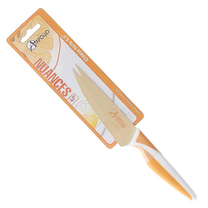 Нож для сыра Apollo Nuances, цвет: белый, оранжевый, длина лезвия 11 смNNC-11Нож Apollo Nuances изготовлен из высококачественной нержавеющей стали со специальным антибактериальным покрытием лезвия. Специальное нестираемое антибактериальное покрытие препятствует контакту продукта и стали, существенно уменьшая процесс окисления и помогая сохранить полезные свойства продукта. Кроме того, специальное покрытие значительно увеличивает гигиенические свойства ножа, сокращая наличие на лезвии микробов и препятствуя их размножению. Эргономичная рукоятка выполнена из высококачественного пищевого прорезиненного пластика бело-оранжевого цвета. Рукоятка не скользит в руках и делает резку удобной и безопасной. Нож превосходно подходит для нарезки твердых и мягких сыров, также на конце лезвия имеется вилка - для сервировки сыра. Такой нож займет достойное место среди аксессуаров на вашей кухне. Заточка ножа Apollo Nuances производится так же, как и обычного кухонного ножа. Не рекомендуется мыть в посудомоечной машине. Характеристики:Материал:нержавеющая сталь, пластик. Цвет:белый, оранжевый. Общая длина ножа:22 см. Длина лезвия: 11 см. Артикул:NNC-11.