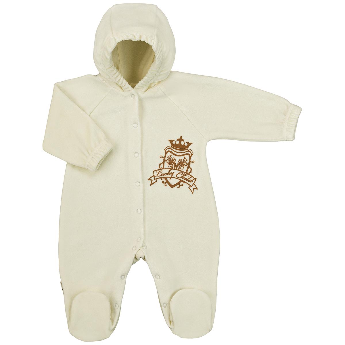 Комбинезон детский Lucky Child, цвет: экрю. 2-21. Размер 62/682-21Детский комбинезон с капюшоном Lucky Child - очень удобный и практичный вид одежды для малышей. Комбинезон выполнен из велюра, благодаря чему он необычайно мягкий и приятный на ощупь, не раздражают нежную кожу ребенка и хорошо вентилируются, а эластичные швы приятны телу малыша и не препятствуют его движениям. Комбинезон с длинными рукавами-реглан и закрытыми ножками имеет застежки-кнопки по центру от горловины до щиколоток, которые помогают легко переодеть младенца или сменить подгузник. На груди он оформлен оригинальным принтом в виде логотипа бренда. Рукава понизу дополнены неширокими эластичными манжетами, не перетягивающими запястья. С детским комбинезоном Lucky Child спинка и ножки вашего малыша всегда будут в тепле. Комбинезон полностью соответствует особенностям жизни младенца в ранний период, не стесняя и не ограничивая его в движениях!