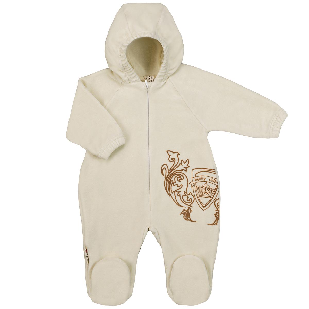 Комбинезон детский Lucky Child, цвет: экрю. 5-4. Размер 68/745-4Детский комбинезон с капюшоном Lucky Child - очень удобный и практичный вид одежды для малышей. Комбинезон выполнен из велюра на подкладке из натурального хлопка, благодаря чему он необычайно мягкий и приятный на ощупь, не раздражают нежную кожу ребенка и хорошо вентилируются, а эластичные швы приятны телу малышки и не препятствуют ее движениям. Комбинезон с длинными рукавами-реглан и закрытыми ножками по центру имеет потайную застежку-молнию, которая помогает легко переодеть младенца или сменить подгузник. Спереди он оформлен оригинальным принтом в виде логотипа бренда. Рукава понизу дополнены неширокими эластичными манжетами, которые мягко обхватывают запястья. С детским комбинезоном Lucky Child спинка и ножки вашего малыша всегда будут в тепле. Комбинезон полностью соответствует особенностям жизни младенца в ранний период, не стесняя и не ограничивая его в движениях!
