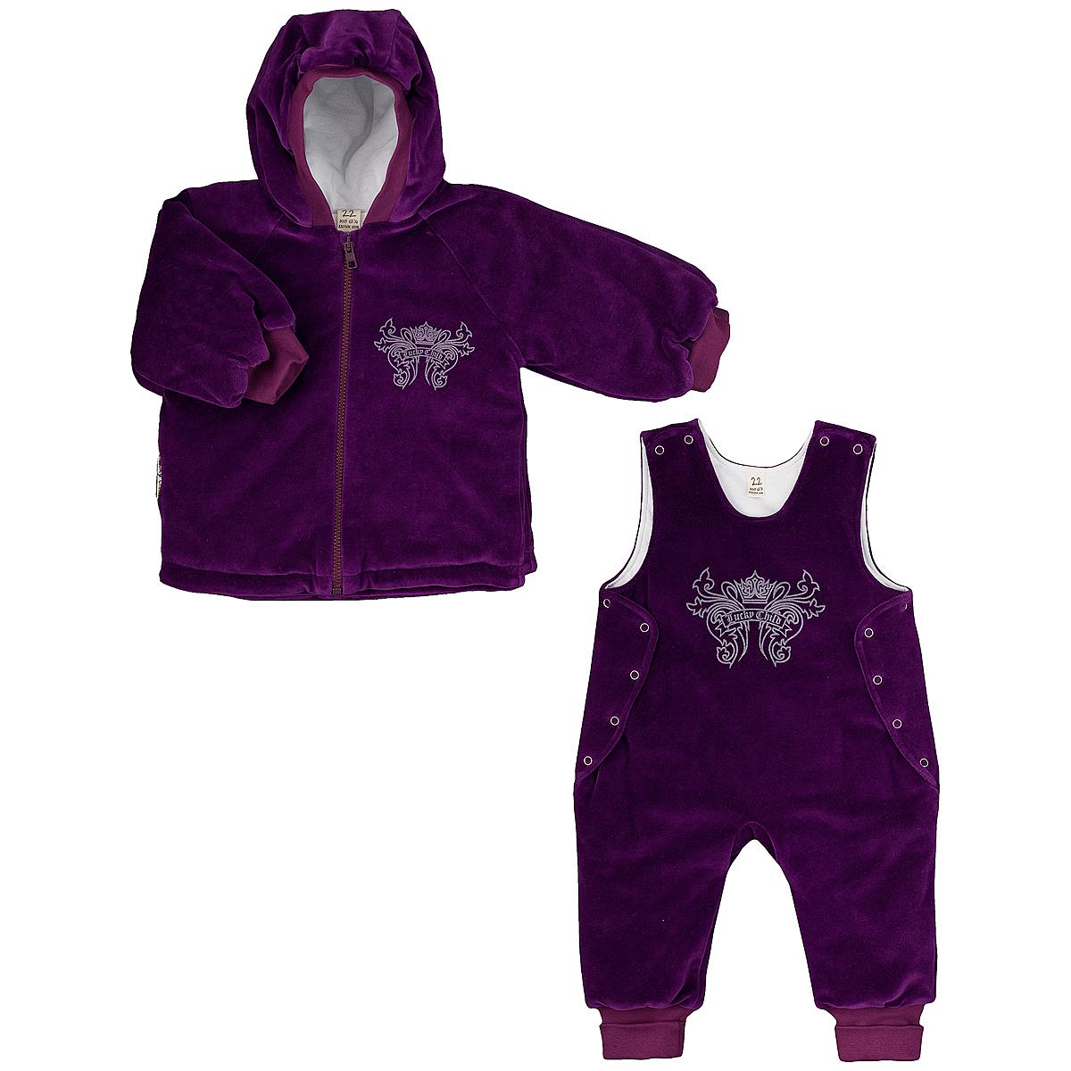Комплект детский Lucky Child: куртка, полукомбинезон, цвет: сливовый. 5-5. Размер 80/865-5Утепленный детский комплект Lucky Child идеально подойдет для ребенка в прохладное время года. Комплект состоит из куртки и полукомбинезона, изготовленных из велюра с утеплителем из синтепона, а для максимального комфорта на подкладке используется натуральный хлопок, который не раздражает нежную кожу ребенка и хорошо сохраняет тепло. Комплект необычайно мягкий и приятный на ощупь, не сковывает движения малыша и позволяет коже дышать, обеспечивая ему наибольший комфорт. Куртка с капюшоном и длинными рукавами-реглан застегивается на пластиковую застежку-молнию. Рукава дополнены широкими трикотажными манжетами, не стягивающими запястья. На груди она оформлена оригинальным принтом в виде логотипа бренда. Полукомбинезон застегивается сверху на кнопки, а по бокам дополнен специальными клапанами на кнопках, которые позволяют без труда переодеть малыша. Снизу брючин предусмотрены широкие трикотажные манжеты. На груди он декорирован таким же рисунком, как на куртке. Комфортный, удобный и практичный этот комплект идеально подойдет для прогулок и игр на свежем воздухе!