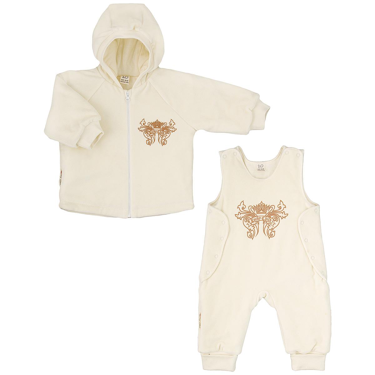 Комплект детский Lucky Child: куртка, полукомбинезон, цвет: экрю. 5-5. Размер 74/805-5Утепленный детский комплект Lucky Child идеально подойдет для ребенка в прохладное время года. Комплект состоит из куртки и полукомбинезона, изготовленных из велюра с утеплителем из синтепона, а для максимального комфорта на подкладке используется натуральный хлопок, который не раздражает нежную кожу ребенка и хорошо сохраняет тепло. Комплект необычайно мягкий и приятный на ощупь, не сковывает движения малыша и позволяет коже дышать, обеспечивая ему наибольший комфорт. Куртка с капюшоном и длинными рукавами-реглан застегивается на пластиковую застежку-молнию. Рукава дополнены широкими трикотажными манжетами, не стягивающими запястья. На груди она оформлена оригинальным принтом в виде логотипа бренда. Полукомбинезон застегивается сверху на кнопки, а по бокам дополнен специальными клапанами на кнопках, которые позволяют без труда переодеть малыша. Снизу брючин предусмотрены широкие трикотажные манжеты. На груди он декорирован таким же рисунком, как на куртке. Комфортный, удобный и практичный этот комплект идеально подойдет для прогулок и игр на свежем воздухе!