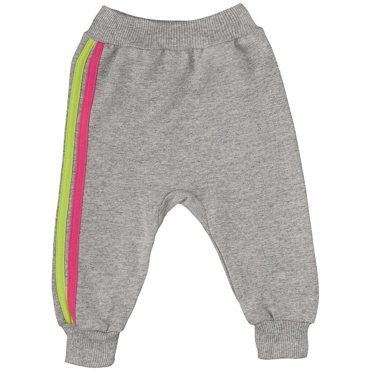 Штанишки на широком поясе Lucky Child, цвет: серый, розовый. 1-14. Размер 86/92