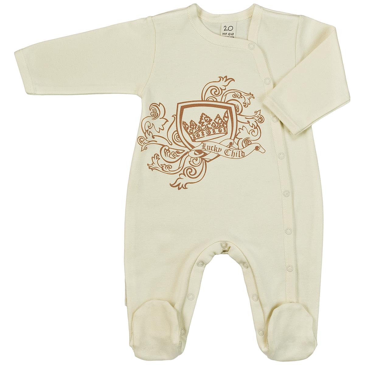 Комбинезон детский Lucky Child, цвет: экрю. 6-16. Размер 68/746-16Детский комбинезон Lucky Child - очень удобный и практичный вид одежды для малышей. Комбинезон выполнен из интерлока - натурального хлопка, благодаря чему он необычайно мягкий и приятный на ощупь, не раздражают нежную кожу ребенка и хорошо вентилируются, а эластичные швы приятны телу малыша и не препятствуют его движениям. Комбинезон с длинными рукавами и закрытыми ножками имеет асимметричные застежки-кнопки от горловины до щиколотки, которые помогают легко переодеть младенца или сменить подгузник. На груди он оформлен оригинальным принтом в виде логотипа бренда. С детским комбинезоном Lucky Child спинка и ножки вашего малыша всегда будут в тепле, он идеален для использования днем и незаменим ночью. Комбинезон полностью соответствует особенностям жизни младенца в ранний период, не стесняя и не ограничивая его в движениях!