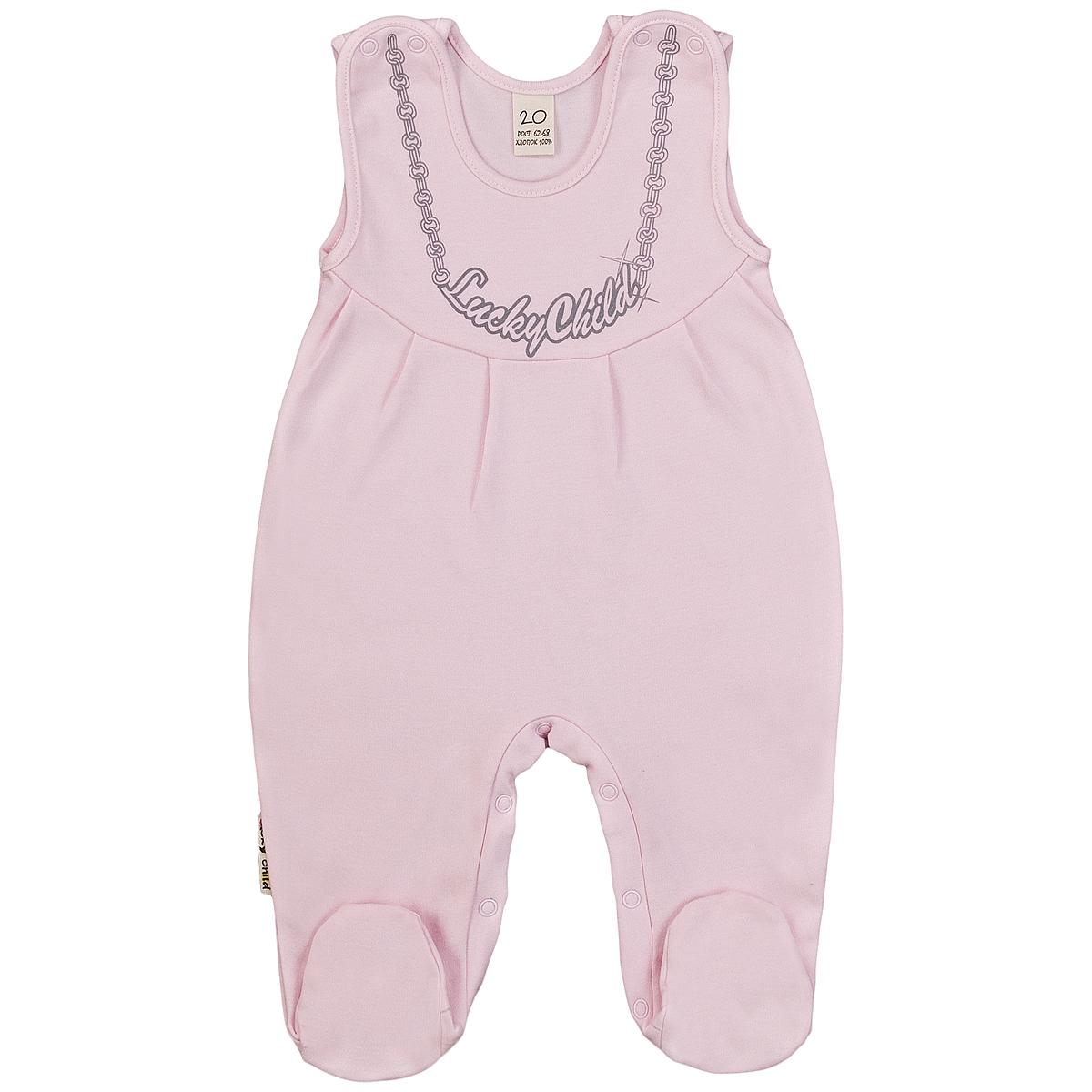 Ползунки с грудкой для девочки Lucky Child, цвет: розовый. 2-14. Размер 80/86