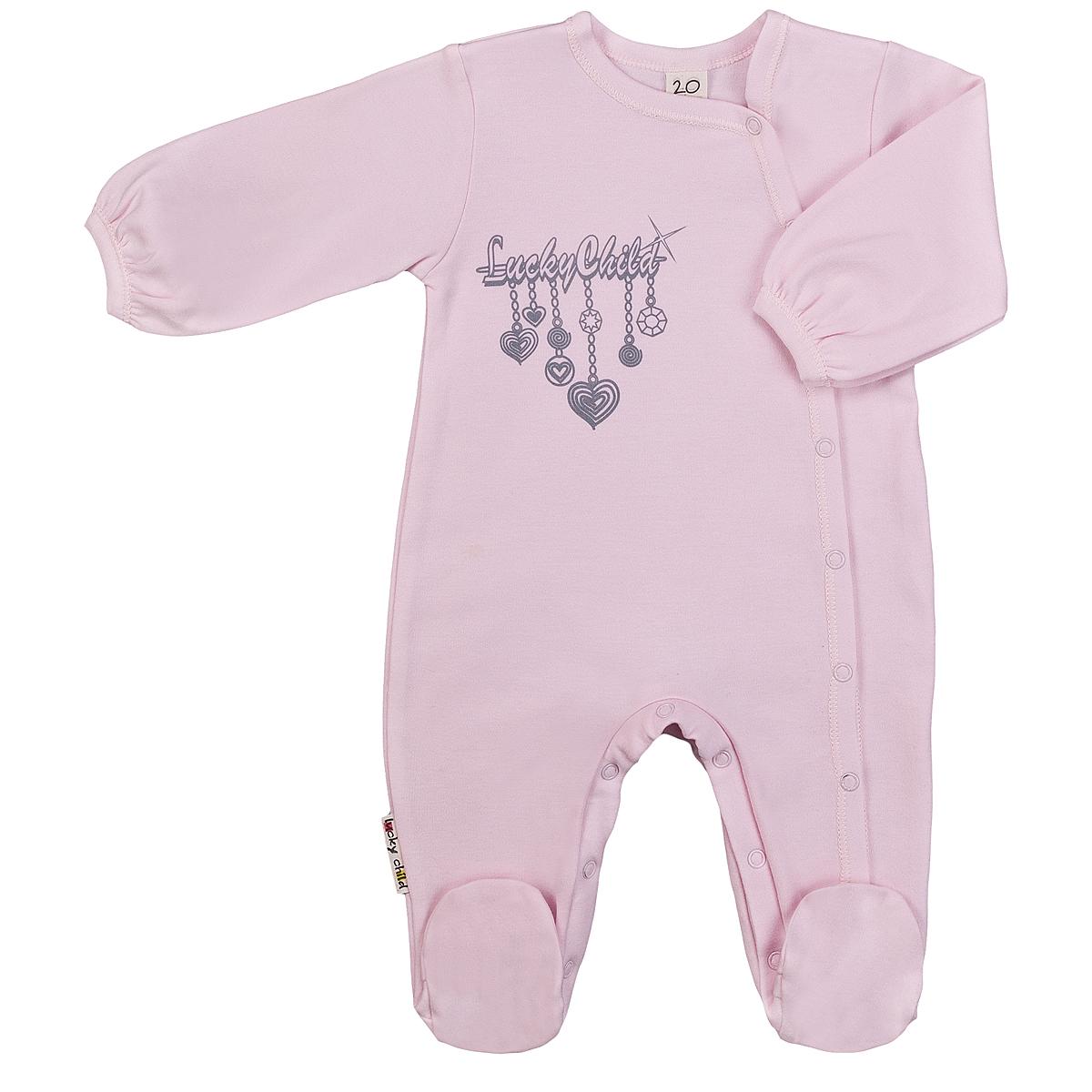 Комбинезон для девочки Lucky Child Брошь, цвет: розовый. 2-16. Размер 74/80 пижама для девочки lucky child цвет кремовый желтый оранжевый 12 402 размер 80 86