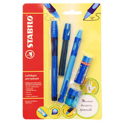 Канцелярский набор Stabilo Leftright для левшей, цвет: голубой, 5 предметов288/6-1ВНабор пишущих принадлежностей STABILO LeftRight д/левшей 5предметов в блистере. (В наборе: шариковая ручка, механический карандаш, грифели для м/карандаша, точилка для грифеля, ластик) Шариковая ручка, механический карандаш, точилка для грифеля имеют маркировку R-для правшей или L-для левшей.Корпусы ручки и механического карандаша трехгранной формы изготовлены из пластика. Зона обхвата трехгранной формы из материала, предотвращающего скольжение пальцев. Ее форма обеспечивает естественное положение пальцев при письме и обеспечивает максимально комфортное письмо для детской руки. Углубления на зоне обхвата показывают ребенку, где располагать пальцы при письме, тем самым обеспечивают правильное положение пальцев ребенка при письме и помогают выработать у ребенка навык правильно держать пишущий инструмент. Длина и вес ручки и карандаша уменьшены, чтобы исключить неблагоприятное воздействие рычага и минимизировать усилия, которые прилагает ребенок при письме. Ручку и механический карандаш можно подписать. Для этого есть углубление для бумажной вставки. Технология Hi-Flux и чернила ручки пониженной вязкости обеспечивают легкое и мягкое письмо практически без нажима и более высокую скорость письма. Чернила быстро высыхают и не размазываются. Толщина линии ручки 0,3 мм. Цвет чернил – синий. Сменный стержень Грифель у карандаша толщиной 2мм, длиной 88мм. (В футлярчике 8 грифелей твердостью НВ) Точилка предназначена специально для грифеля 2мм. Характеристики: Толщина грифеля: 2 мм. Твердость карандаша:НВ. Цвет чернил ручки:синий. Толщина стержня ручки:0,3 мм. Длина карандаша:13,5 см. Длина ручки (с колпачком):14,3 см. Размер точилки:3 см х 2 см х 2 см. Размер ластика:5 см х 1,5 см х 1,5 см. Длина футляра для стержней:9,5 см. Размер упаковки:21 см х 13,5 х 2,5 см.Шариковая ручка, механический карандаш, футляр со сменными грифелями, точилка для грифеля, ластик.