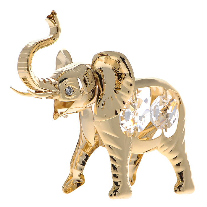 Сувенир Слон, цвет: золотистый. 424921424921Сувенир Слон выполнен из позолоченного металла и украшен белыми кристаллами Swarovski. Поставьте фигурку на стол в офисе или дома и наслаждайтесь изящными формами и блеском кристаллов. Изысканный и эффектный, этот сувенир покорит своей красотой и изумительным качеством исполнения, а также станет замечательным и оригинальным подарком. Характеристики:Материал: металл, кристаллы Swarovski. Размер сувенира: 9 см х 3 см х 7 см. Цвет: золотистый. Размер упаковки: 6 см х 6 см х 9 см. Артикул: 424921.