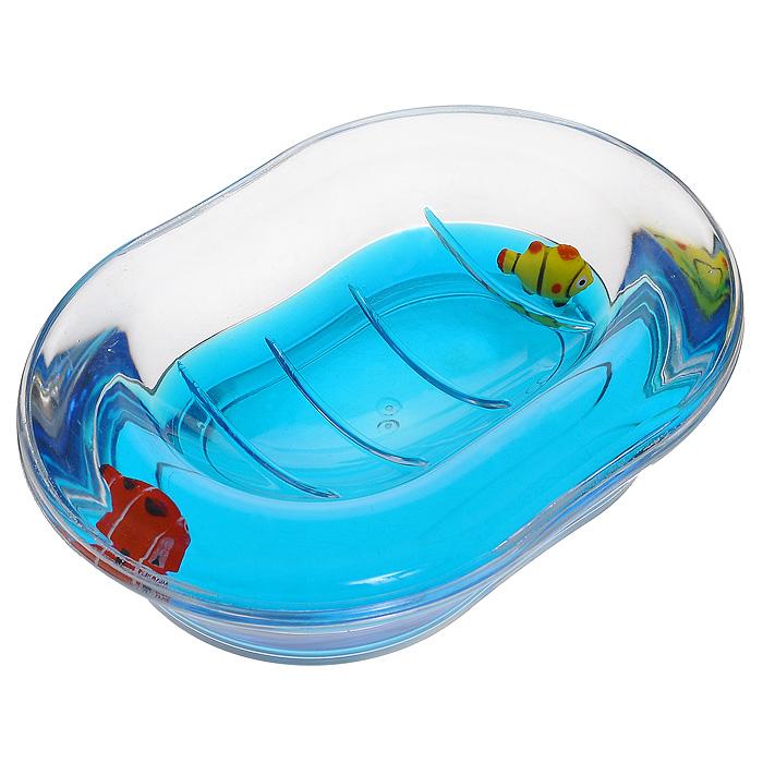 Мыльница Рыбки, цвет: синий880-31Оригинальная мыльница Рыбки, изготовленная из прозрачного пластика, отлично подойдет для вашей ванной комнаты. Внутри мыльницы синий гелевый наполнитель с рыбками красного и желтого цвета.Такая мыльница создаст особую атмосферу уюта и максимального комфорта в ванной. Характеристики: Материал: пластик, акрил, гелевый наполнитель. Цвет: синий, желтый, красный. Размер мыльницы: 13,5 см х 10 см х 3,5 см. Производитель: Швеция. Изготовитель: Китай. Размер упаковки: 14 см х 10,5 см х 4,5 см. Артикул: 880-31.