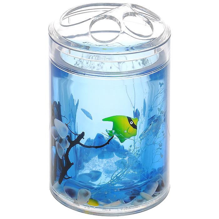 Стакан для зубных щеток Морские рыбки334-02Стакан для зубных щеток Морские рыбки, изготовленный из прозрачного пластика, отлично подойдет для вашей ванной комнаты. Внутри стакана синий гелиевый наполнитель с маленькими ракушками, рыбками и веточками.Стакан для зубных щеток создаст особую атмосферу уюта и максимального комфорта в ванной. Характеристики: Материал: пластик, акрил, гелиевый наполнитель. Цвет: голубой, белый, желтый, черный. Диаметр стакана по верхнему краю: 7,5 см. Высота стакана: 11,5 см. Производитель: Швеция. Изготовитель: Китай. Размер упаковки: 8,5 см х 8,5 см х 12,5 см. Артикул: 334-02.