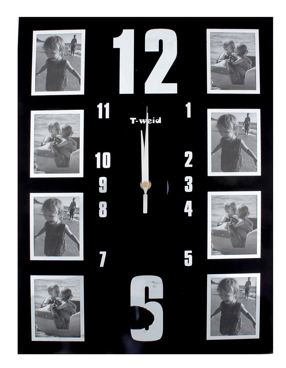 Часы настенные Sima-land, кварцевые, с 8 фоторамками. 487332487332Настенные кварцевые часы Sima-land - это прекрасный предмет декора, а также универсальный подарок практически по любому поводу. Корпус часов, выполнен из прочного стекла с черным покрытием, оформлен восемью фоторамками в серебристой окантовке.Посередине расположен циферблат оснащенный тремя стрелками: часовой, минутной и секундной. Цифры нанесены серебристой краской сверху. На задней стенке часов расположена металлическая петелька для подвешивания и блок с часовым механизмом.Часы с рамками прекрасно впишутся в любой интерьер. В зависимости оттого, что вы поместите в рамки, будет меняться и стиль часов. Характеристики:Материал: стекло, металл. Тип механизма:плавающий, бесшумный. Размер часов:45 см х 34 см х 2 см. Толщина корпуса часов:2 см. Размер фото:7,5 см х 5,5 см. Размер упаковки:47 см х 36 см х 4 см. Рекомендуется докупить батарейку типа АА (не входит в комплект).