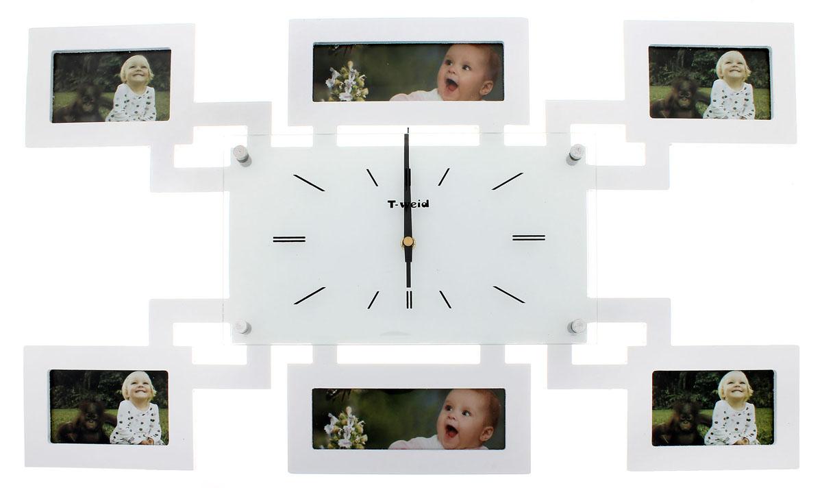 Часы настенные Sima-land Хайтек, кварцевые, с фоторамками на 6 фотографий. 672066672066Настенные кварцевые часы Sima-land Хайтек своим дизайном подчеркнут стильность и оригинальность интерьера вашего дома. Корпус часов выполнен из дерева с белым покрытием и оформлен шестью фоторамками разных размеров. Часы имеют три стрелки - часовую, минутную и секундную. Стрелки защищены толстым стеклом (4 мм), которое крепится четырьмя металлическими штырьками. Метки нанесены черной краской с внутренней стороны стекла. На задней стенке часов расположена металлическая петелька для подвешивания и блок с часовым механизмом. Такие часы послужат отличным подарком для ценителя ярких и необычных вещей.Рекомендуется докупить батарейку типа АА (не входит в комплект).