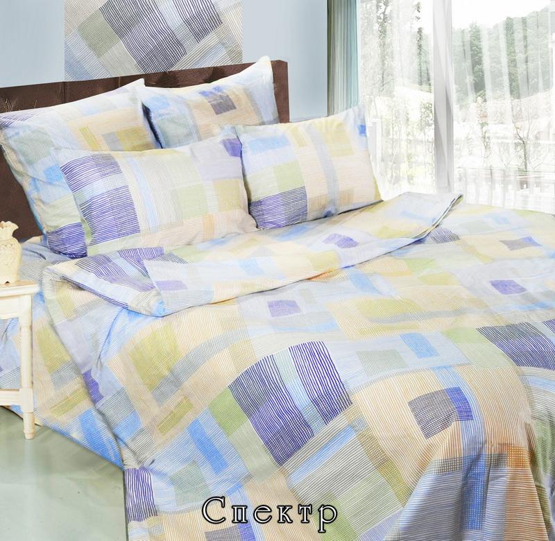 """Комплект постельного белья """"Спектр"""" является экологически безопасным для всей семьи, так как выполнен из натурального хлопка. Комплект состоит из двух пододеяльников, простыни и двух наволочек. Предметы комплекта оформлены оригинальным рисунком.  Бязь - 100 % хлопок, хлопчатобумажная ткань полотняного переплетения без искусственных добавок. Большое количество нитей делает эту ткань более плотной, более долговечной. Высокая плотность ткани позволяет сохранить форму изделия, его первоначальные размеры и первозданный рисунок. Обладает низкой сминаемостью, легко стирается и хорошо гладится. При соблюдении рекомендуемых условий стирки, сушки и глажения ткань имеет усадку по ГОСТу, сохраняется яркость текстильных рисунков. Характеристики: Страна: Россия. Материал: бязь (100% хлопок). Размер упаковки: 37 см х 27 см х 9 см. В комплект входят: Пододеяльник - 2 шт. Размер: 143 см х 216 см. Простыня - 1 шт. Размер: 220 см х 240 см. Наволочка - 2 шт. Размер: 50 см х 70 см.  Советы по выбору постельного белья от блогера Ирины Соковых. Статья OZON Гид"""