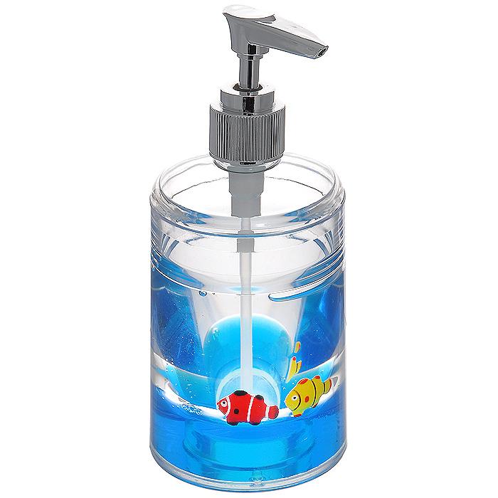 Дозатор для жидкого мыла Рыбки, цвет: синий прихватка korall флер цвет белый синий 17 см х 17 см