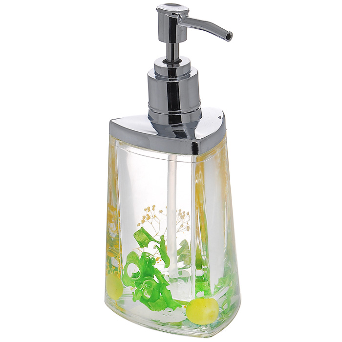 Дозатор для жидкого мыла Green Garden877-54Дозатор для жидкого мыла Green Garden, изготовленный из прозрачного пластика, отлично подойдет для вашей ванной комнаты. Дозатор имеет двойные стенки, между которыми находится прозрачный гелевый наполнитель с зелеными листьями, ягодами и желтыми веточками. Такой аксессуар очень удобен в использовании, достаточно лишь перелить жидкое мыло в дозатор, а когда необходимо использование мыла, легким нажатием выдавить нужное количество. Дозатор для жидкого мыла Green Garden создаст особую атмосферу уюта и максимального комфорта в ванной. Характеристики: Материал: пластик, акрил, гелевый наполнитель. Цвет: зеленый, салатовый, желтый. Размер дозатора: 7,5 см х 7,5 см х 17 см. Производитель: Швеция. Изготовитель: Китай. Размер упаковки: 8,5 см х 8,5 см х 17,5 см. Артикул: 877-54.