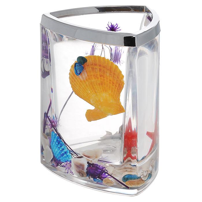 Стаканчик Fantasy857-48Стаканчик Fantasy, изготовленный из прозрачного пластика, отлично подойдет для вашей ванной комнаты. Стаканчик имеет двойные стенки, между которыми находится прозрачный гелевый наполнитель с разноцветными ракушками, красной морской звездой и сиреневой веточкой. Стаканчик Fantasy создаст особую атмосферу уюта и максимального комфорта в ванной. Характеристики: Материал: пластик, акрил, гелевый наполнитель. Цвет: оранжевый, голубой, сиреневый, красный. Размер стаканчика: 7,5 см х 7,5 см х 11 см. Производитель: Швеция. Изготовитель: Китай. Размер упаковки: 8 см х 8 см х 11,5 см. Артикул: 857-48.
