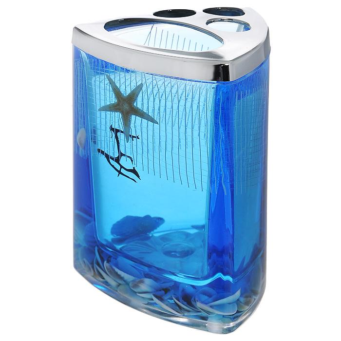 Стаканчик для зубных щеток Seastar Blue867-37Стаканчик для зубных щеток Seastar Blue, изготовленный из прозрачного пластика, отлично подойдет для вашей ванной комнаты. Стаканчик имеет двойные стенки, между которыми находится синий гелевый наполнитель с маленькими ракушками, морской звездой и белой сеткой.Стаканчик для зубных щеток Seastar Blue создаст особую атмосферу уюта и максимального комфорта в ванной. Характеристики: Материал: пластик, акрил, гелевый наполнитель. Цвет: синий, белый, желтый. Размер стаканчика: 7,5 см х 7,5 см х 11 см. Производитель: Швеция. Изготовитель: Китай. Размер упаковки: 8 см х 8 см х 11,5 см. Артикул: 867-37.