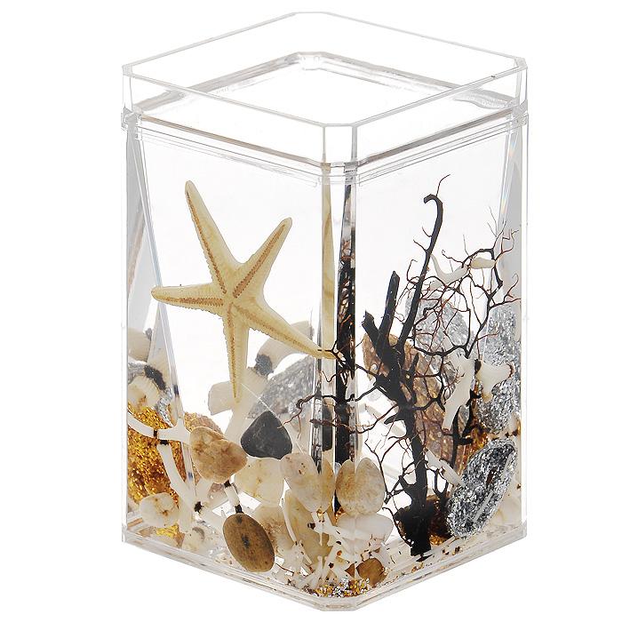 Стаканчик Sea Shine345-01Стаканчик Sea Shine, изготовленный из прозрачного пластика, отлично подойдет для вашей ванной комнаты. Стаканчик имеет двойные стенки, между которыми находится прозрачный гелевый наполнитель с морской звездой, веточками, камушками и блестящими ракушками. Стаканчик Sea Shine создаст особую атмосферу уюта и максимального комфорта в ванной. Характеристики: Материал: пластик, акрил, гелевый наполнитель. Цвет: желтый, золотистый, серебристый, черный, белый. Размер стаканчика: 7 см х 7 см х 10,5 см. Производитель: Швеция. Изготовитель: Китай. Размер упаковки: 7,5 см х 7,5 см х 11,5 см. Артикул: 345-01.