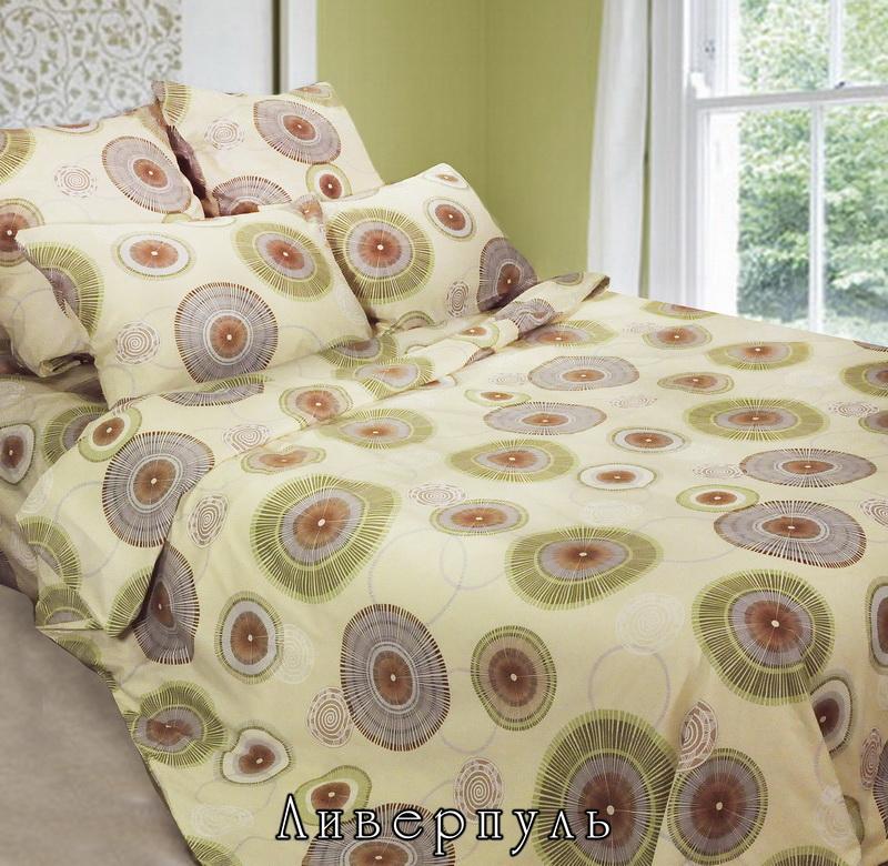 """Комплект постельного белья """"Ливерпуль"""" является экологически безопасным для всей семьи, так как выполнен из натурального хлопка. Комплект состоит из пододеяльника, простыни и двух наволочек. Предметы комплекта оформлены оригинальными круглыми узорами. Бязь - 100 % хлопок, хлопчатобумажная ткань полотняного переплетения без искусственных добавок. Большое количество нитей делает эту ткань более плотной, более долговечной. Высокая плотность ткани позволяет сохранить форму изделия, его первоначальные размеры и первозданный рисунок. Обладает низкой сминаемостью, легко стирается и хорошо гладится. При соблюдении рекомендуемых условий стирки, сушки и глажения ткань имеет усадку по ГОСТу, сохраняется яркость текстильных рисунков.   Характеристики: Страна: Россия. Материал: бязь (100% хлопок). Размер упаковки: 25,5 см х 7,5 см х 38 см. В комплект входят: Пододеяльник - 1 шт. Размер: 200 см х 220 см. Простыня - 1 шт. Размер: 220 см х 240 см. Наволочка - 2 шт. Размер: 50 см х 70 см.  Советы по выбору постельного белья от блогера Ирины Соковых. Статья OZON Гид"""