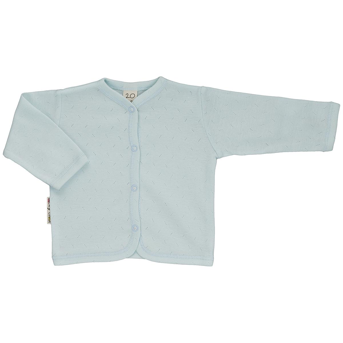 Кофточка детская Lucky Child Ажур, цвет: голубой. 0-7. Размер 62/680-7Кофточка для новорожденного Lucky Child Ажур с длинными рукавами послужит идеальным дополнением к гардеробу вашего малыша, обеспечивая ему наибольший комфорт. Изготовленная из натурального хлопка, она необычайно мягкая и легкая, не раздражает нежную кожу ребенка и хорошо вентилируется, а эластичные швы приятны телу малыша и не препятствуют его движениям. Удобные застежки-кнопки по всей длине помогают легко переодеть младенца.Модель выполнена из ткани с ажурным узором. Кофточка полностью соответствует особенностям жизни ребенка в ранний период, не стесняя и не ограничивая его в движениях. В ней ваш малыш всегда будет в центре внимания.