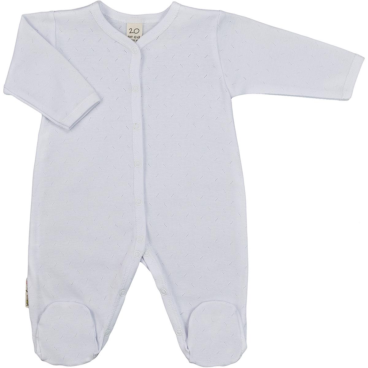 Комбинезон детский Lucky Child Ажур, цвет: белый. 0-12. Размер 62/680-12Детский комбинезон Lucky Child - очень удобный и практичный вид одежды для малышей. Комбинезон выполнен из натурального хлопка, благодаря чему он необычайно мягкий и приятный на ощупь, не раздражают нежную кожу ребенка и хорошо вентилируются, а эластичные швы приятны телу малыша и не препятствуют его движениям. Комбинезон с длинными рукавами и закрытыми ножками имеет застежки-кнопки от горловины до щиколоток, которые помогают легко переодеть младенца или сменить подгузник.Модель выполнена из ткани с ажурным узором. С детским комбинезоном Lucky Child спинка и ножки вашего малыша всегда будут в тепле, он идеален для использования днем и незаменим ночью. Комбинезон полностью соответствует особенностям жизни младенца в ранний период, не стесняя и не ограничивая его в движениях!