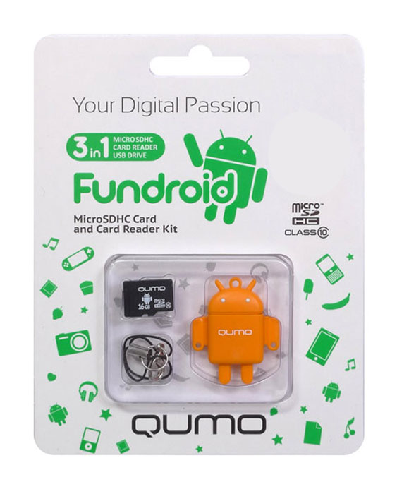 QUMO microSDHC Class 10 16GB + картридер/USB накопитель Fundroid, OrangeQM16GCR-MSD10-FD-ORGКомплект Fundroid является идеальным решением класса «3-в-1» для тех, кто ценит функциональность и необычный дизайн. Во-первых, это высокоскоростная карта памяти для вашего мобильного устройства. Во-вторых, стильный картридер, который позволит вам оперативно обмениваться информацией. А в третьих, будучи совмещёнными друг с другом, они могут использоваться как высокоскоростной влагозащищенный USB-накопитель. Технология производства флэш-карты обеспечивает влагозащитные качества.В комплект входит: яркий, удобный, легкий USB картридер в форме робота — всем знакомого символа операционной системы Android™ скоростная карта MicroSDHC class 10 (скорость записи 10 MB/s) c логотипом Android™шнурок с карабинчикомКомплект Fundroid является идеальным решением класса «3-в-1» для тех, кто ценит функциональность и необычный дизайн. Во-первых, это высокоскоростная карта памяти для вашего мобильного устройства. Во-вторых, стильный картридер, который позволит вам оперативно обмениваться информацией. А в третьих, будучи совмещёнными друг с другом, они могут использоваться как высокоскоростной влагозащищенный USB-накопитель. Технология производства флэш-карты обеспечивает влагозащитные качества.