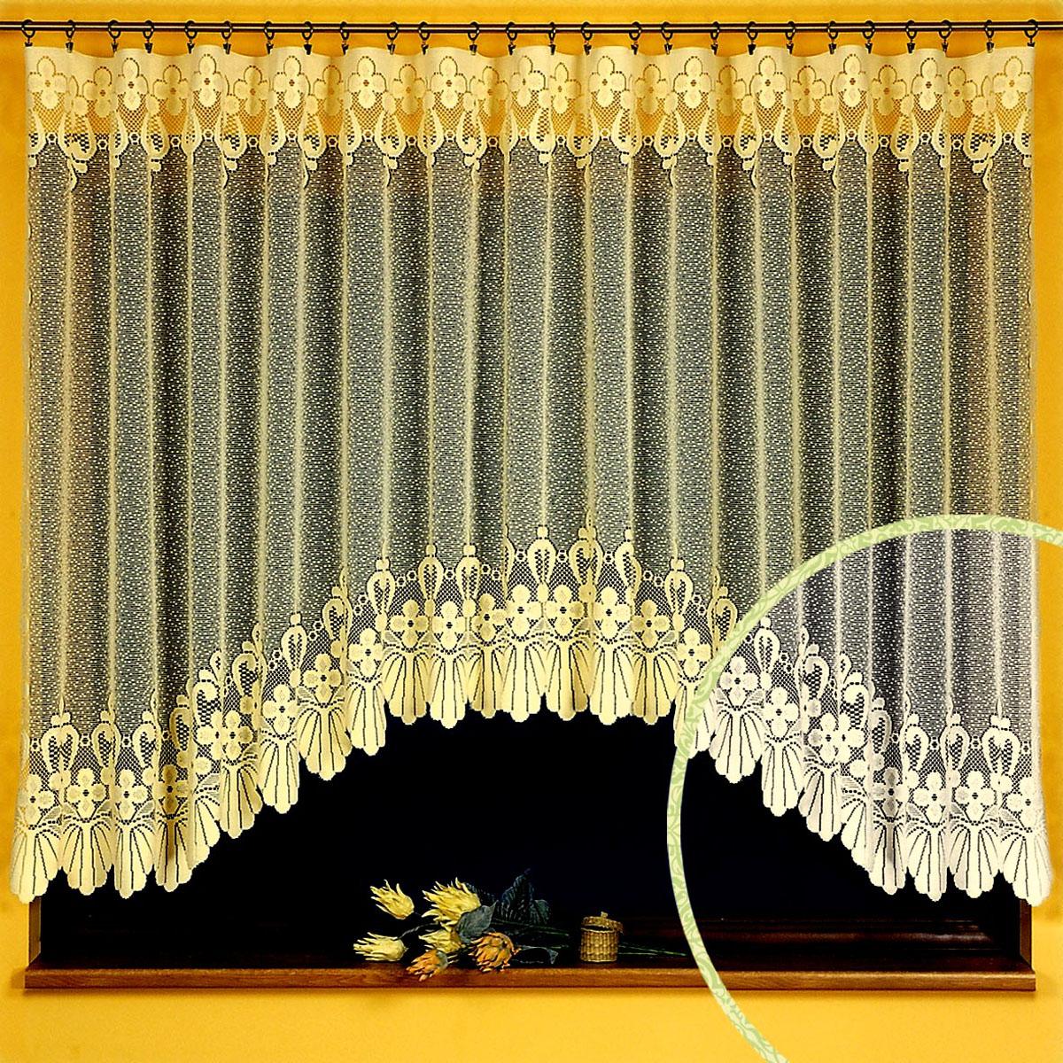 """Гардина """"Ewa"""", выполненная из легкого полиэстера белого цвета, станет великолепным украшением любого окна. Тонкое плетение, оригинальный дизайн и нежная цветовая гамма привлекут внимание и украсят интерьер помещения. Гардина крепится к карнизу только с помощью зажимов (в комплект не входят). Характеристики:Материал: 100% полиэстер. Цвет: белый. Размер упаковки:  24 см х 33 см х 6 см. Артикул: 446803.В комплект входит: Гардина - 1 шт. Размер (ШхВ): 350 см х 150 см. Фирма """"Wisan"""" на польском рынке существует уже более пятидесяти лет и является одной из лучших польских фабрик по производству штор и тканей. Ассортимент фирмы представлен готовыми комплектами штор для гостиной, детской, кухни, а также текстилем для кухни (скатерти, салфетки, дорожки, кухонные занавески). Модельный ряд отличает оригинальный дизайн, высокое качество. Ассортимент продукции постоянно пополняется.  УВАЖАЕМЫЕ КЛИЕНТЫ!  Обращаем ваше внимание на цвет изделия. Цветовой вариант гардины, данной в интерьере, служит для визуального восприятия товара. Цветовая гамма данной гардины представлена на отдельном изображении фрагментом ткани."""