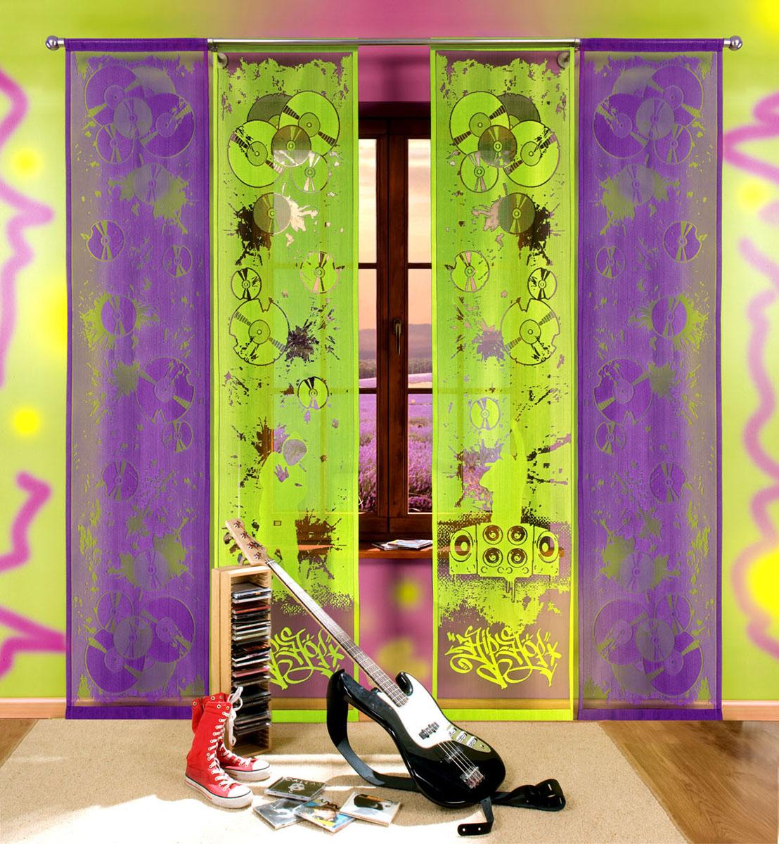 Комплект гардин-панно Hip-hop, на кулиске, цвет: зеленый, фиолетовый, высота 240 см700608Комплект гардин-панно Hip-hop, изготовленный из полиэстера, станет великолепным украшением любого окна. В комплект входят две гардины зеленого цвета и две гардины фиолетового цвета. Оригинальный принт в виде музыкальных дисков и граффити, яркая цветовая гамма привлекут к себе внимание и органично впишутся в интерьер комнаты. Все элементы комплекта оснащены кулиской для крепления на круглый карниз. Характеристики:Материал: 100% полиэстер. Размер упаковки:27 см х 34 см х 3 см. Артикул: 700608.В комплект входит:Гардина-панно - 4 шт. Размер (Ш х В): 50 см х 240 см. Фирма Wisan на польском рынке существует уже более пятидесяти лет и является одной из лучших польских фабрик по производству штор и тканей. Ассортимент фирмы представлен готовыми комплектами штор для гостиной, детской, кухни, а также текстилем для кухни (скатерти, салфетки, дорожки, кухонные занавески). Модельный ряд отличает оригинальный дизайн, высокое качество. Ассортимент продукции постоянно пополняется.