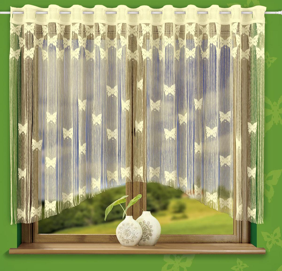Гардина-лапша Wisan Motylki, на петлях, цвет: кремовый, высота 160 см722549Гардина-лапша Wisan Motylki, изготовленная из высококачественного полиэстера, станет великолепным украшением любого окна. Оригинальный дизайн и нежная цветовая гамма привлекут к себе внимание и органично впишутся в интерьер комнаты. Красивое оформление изделия внесет разнообразие и подарит заряд положительного настроения. Гардина-лапша оснащена петлями для крепления на круглый карниз.Высота петли: 6,5 см.
