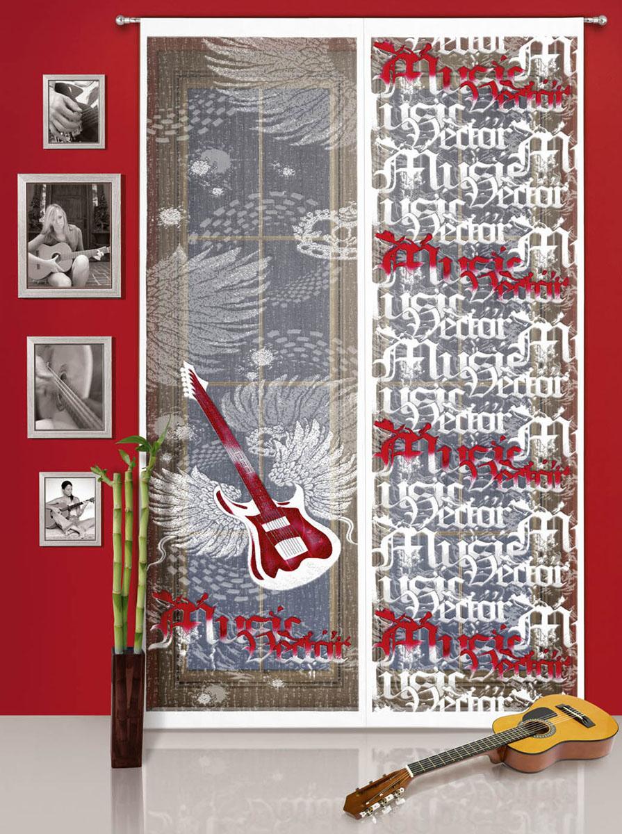 Гардина-панно Gitara,  кулиске, цвет: белый, красный, высота 240 см
