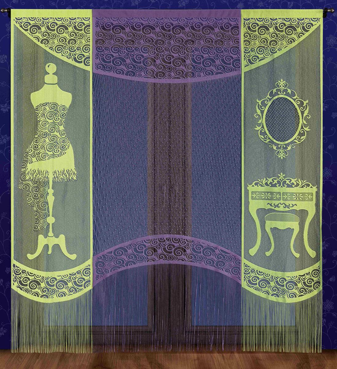 Комплект гардин-панно Garderoba, на кулиске, цвет: салатовый, фиолетовый, высота 250 см