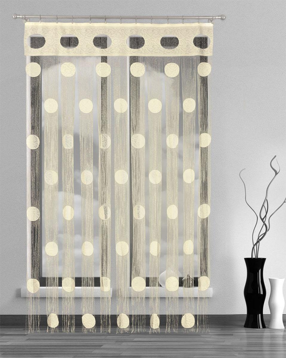 Гардина-лапша Wisan, на ленте, цвет: кремовый, высота 250 см гардина 150 250 см wisan цвет черный
