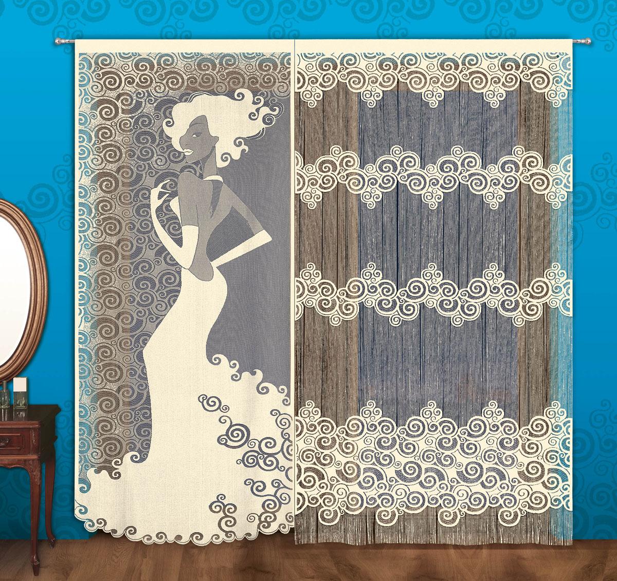 Комплект гардин Мадемуазель, на кулиске, цвет: кремовый, высота 240 см