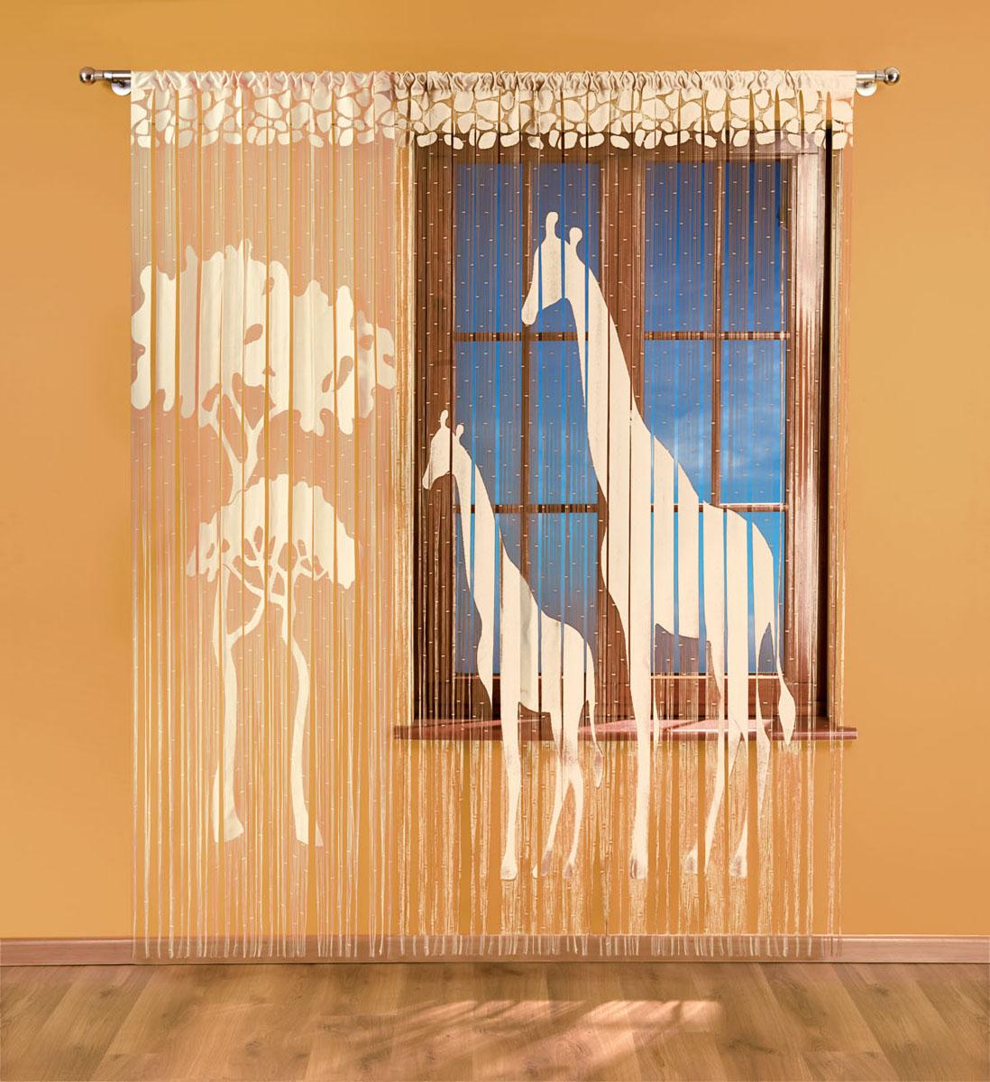 Гардина-лапша Жираф, на кулиске, цвет: кремовый, высота 240 см