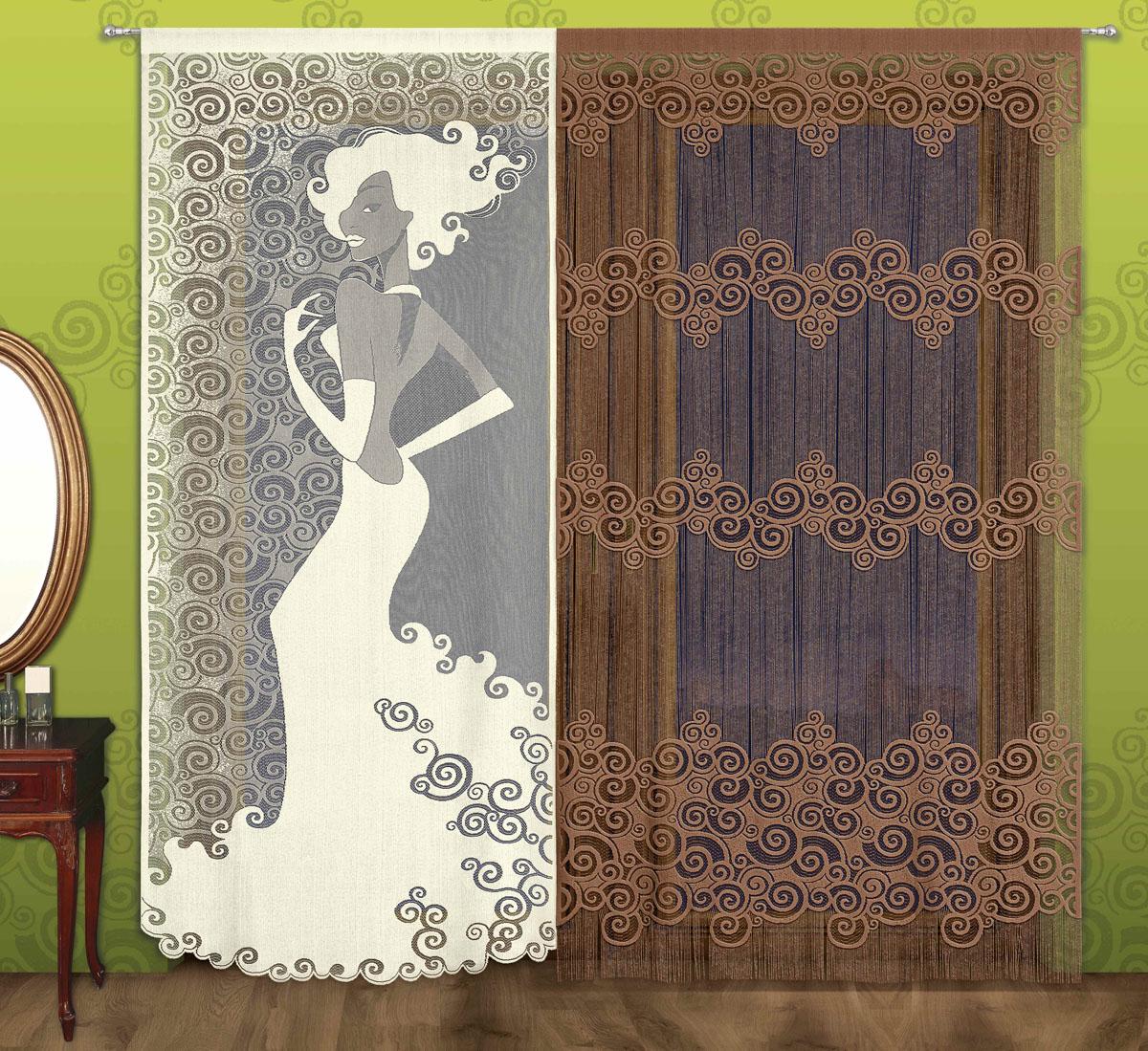 Комплект гардин Мадемуазель, на кулиске, цвет: кремовый, коричневый, высота 240 см
