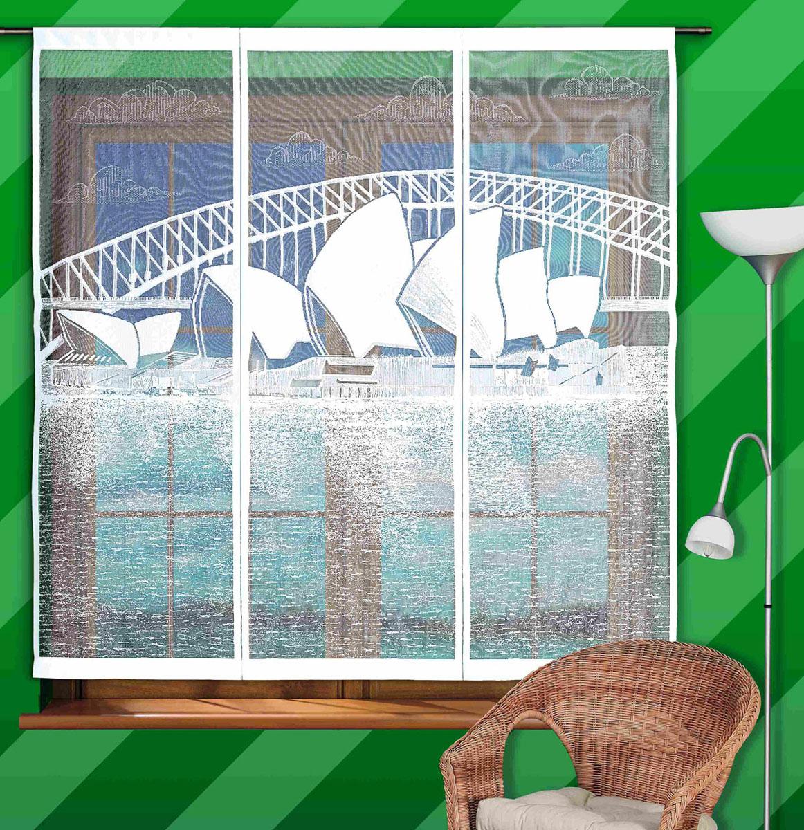 Гардина-панно Sidney, на кулиске, цвет: белый, высота 160 см747139Воздушная гардина-панно Sidney, изготовленная из полиэстера белого цвета, станет великолепным украшением любого окна. Тонкое плетение и оригинальный рисунок в виде здания Оперы в Сиднее привлечет к себе внимание и органично впишется в интерьер. Гардина оснащена кулиской для крепления на круглый карниз. Характеристики:Материал: 100% полиэстер. Цвет: белый. Высота кулиски: 7 см. Размер упаковки:27 см х 36 см х 3 см. Артикул: 747139. В комплект входит: Гардина-панно - 1 шт. Размер (ШхВ): 150 см х 160 см. Фирма Wisan на польском рынке существует уже более пятидесяти лет и является одной из лучших польских фабрик по производству штор и тканей. Ассортимент фирмы представлен готовыми комплектами штор для гостиной, детской, кухни, а также текстилем для кухни (скатерти, салфетки, дорожки, кухонные занавески). Модельный ряд отличает оригинальный дизайн, высокое качество. Ассортимент продукции постоянно пополняется.