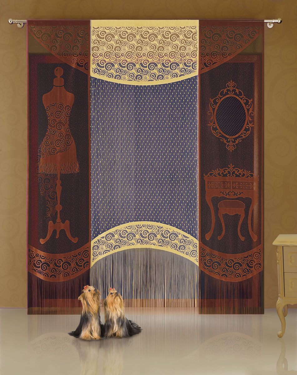 Комплект гардин-панно Garderoba, на кулиске, цвет: коричневый, желтый, высота 250 см комплект штор для кухни wisan celina на ленте цвет белый оранжевый высота 180 см